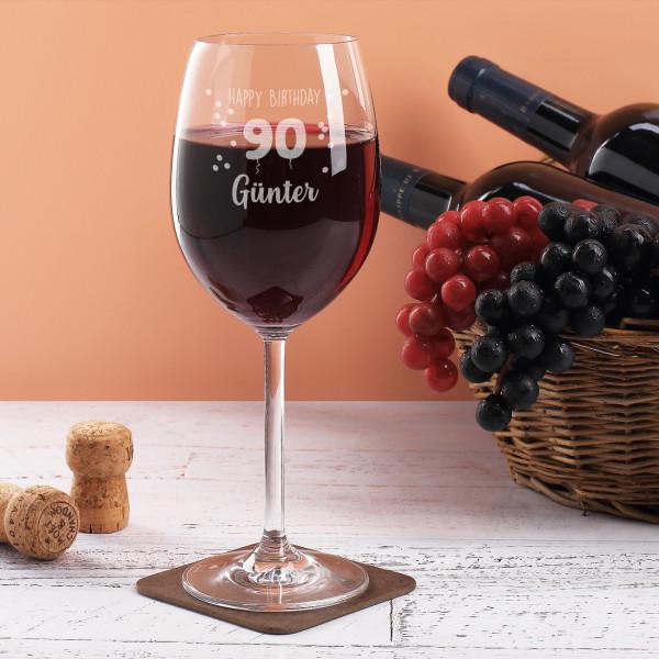 Happy Birthday 90 - Weinglas mit Name graviert zum 90. Geburtstag