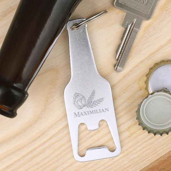 silberner Schlüsselanhänger in Flaschenform