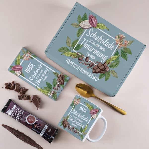 Geschenkset Schokolade ist wie eine warme Umarmung von innen mit Tasse, Schokolade, Trinkschokolade und Box
