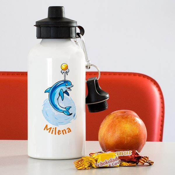 Trinkflasche Delfin mit Namen