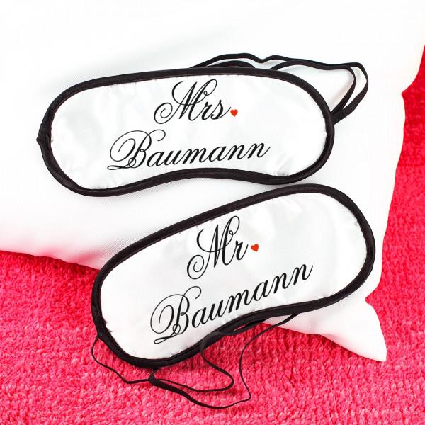Mr. & Mrs. Schlafmaske mit Wunschname bedruckt
