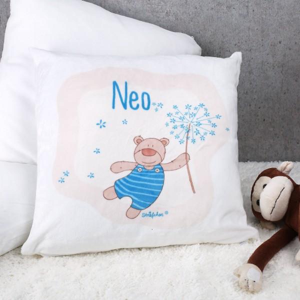 Kuschelkissen mit süßem Teddybär und dem Namen Ihres Kindes