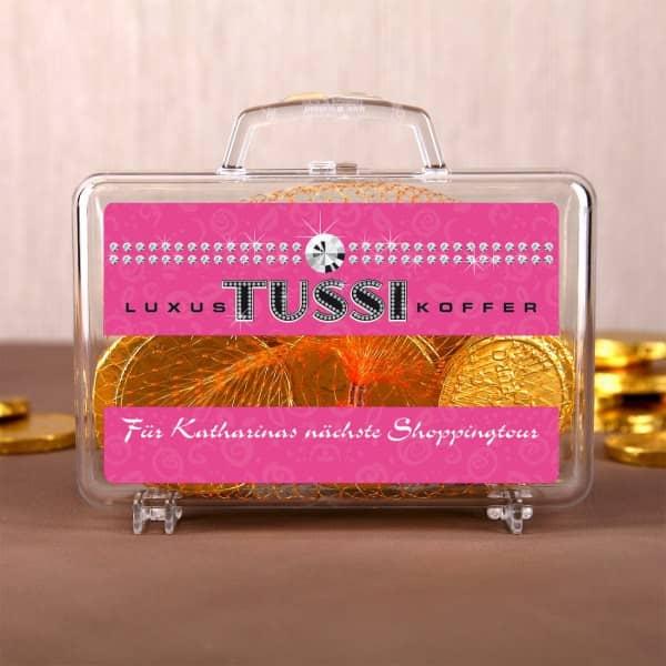 Kleiner Luxus Tussi Geldkoffer mit persönlichem Text