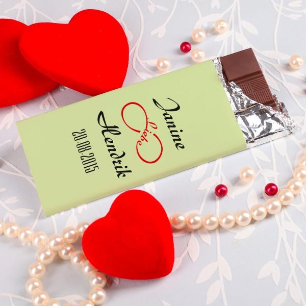 100g Schokolade -Unendlichkeitssymbol der Liebe- mit Namen des Paares und Datum