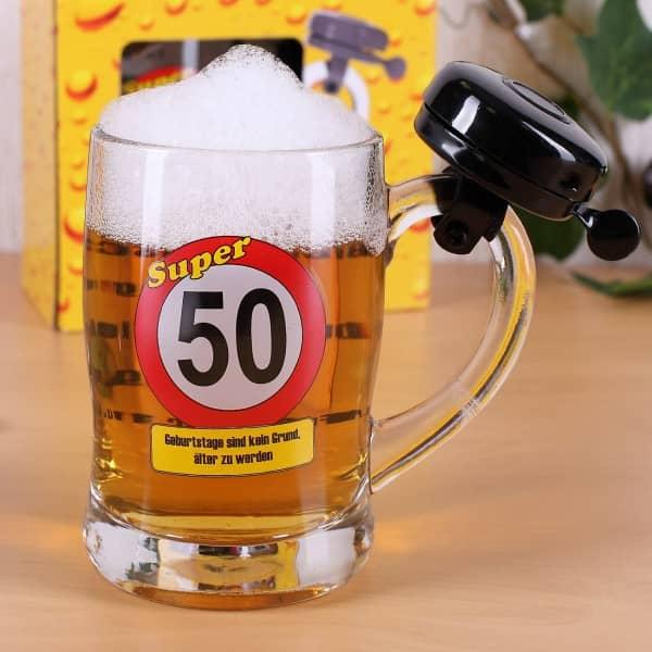 Bierseidel zum 50. Geburtstag mit Klingel