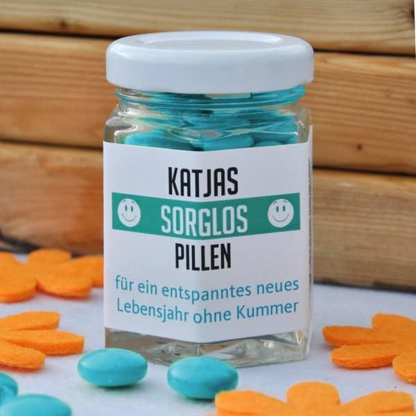 Sorglos Pillen aus der lustogen Apotheke mit Wunschname