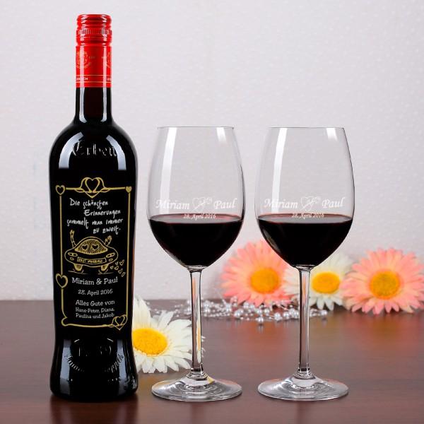 Hochzeitsset aus edler Weinflasche und 2 Weingläsern mit Gravur
