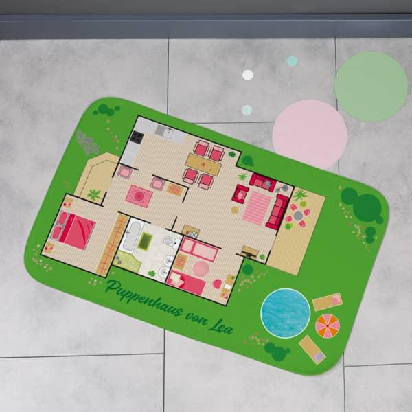 Mini Puppenstube - Spielteppich mit Wunschtext 76x48cm
