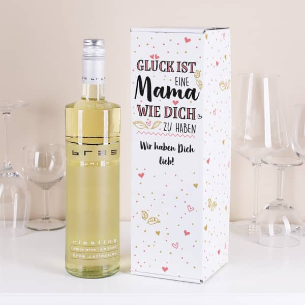Flschenverpackung mit BREE Weinflasche für Mamas mit Wunschtext