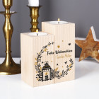 2er Set Teelichthalter aus Holz - Frohe Weihnachten - mit Name