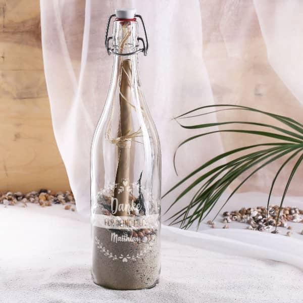 gravierte Flaschenpost