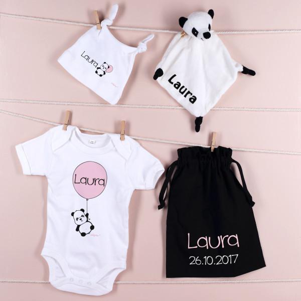 Individuellbabykind - Babyset mit süßem Panda und Namen - Onlineshop Geschenke online.de