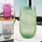 Trinkglas in drei Farben mit Wunschname