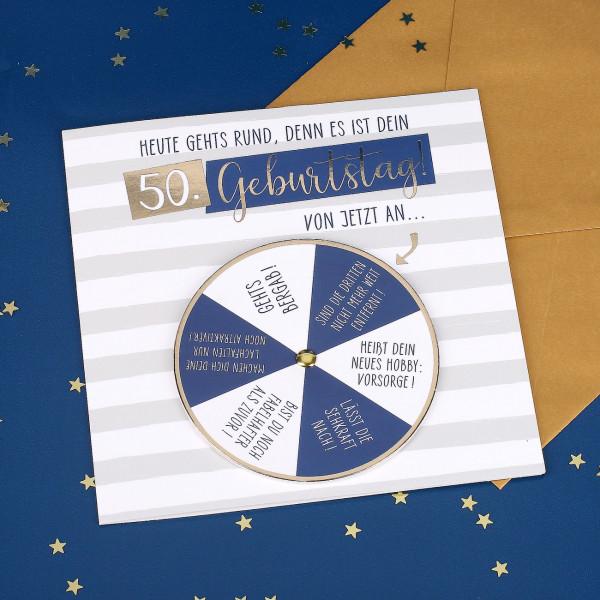 Glückwunschkarte mit Drehkarte zum 50. Geburtstag