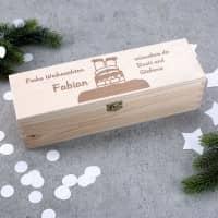 Gravierte Weinverpackung zu Weihnachten mit Name und Wunschtext