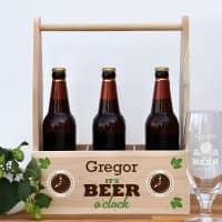 personalisierter Bierträger - Holzkiste It's beer o'clock!