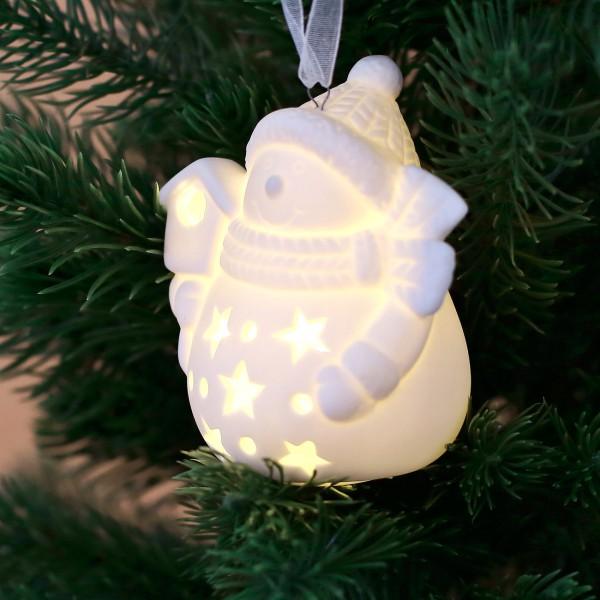 Keramik - Weihnachtsigur mit LED Schneemann mit Haus