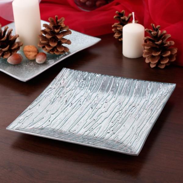 Glasdekoschale Silber gestreift