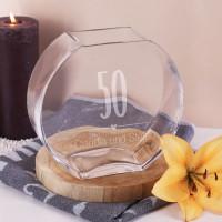 50 Jahre Ehe - abgerundete Vase mit Namen