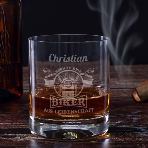 Biker aus Leidenschaft - graviertes Whiskyglas mit Name