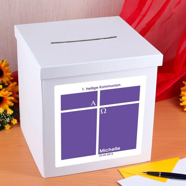 Kartenbox für Mädchen zur Kommunion mit Namen und Datum