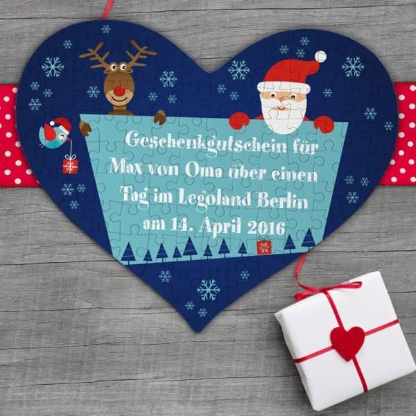 Gutschein Puzzle in Herzform zu Weihnachten mit individuellem Text
