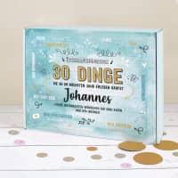30 Dinge - Überraschungsbox zum selbst befüllen mit Name und Wunschtext bedruckt