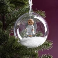Weihnachtskugel mit Schutzengel in Silber