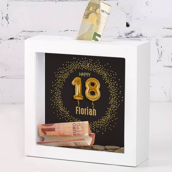 Happy 18 - Bilderrahmen-Spardose zum Geburtstag mit Name, 15x15cm
