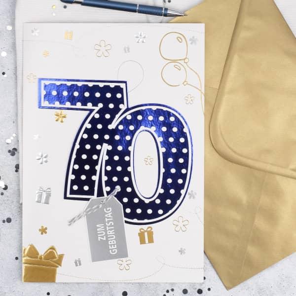 DIN A4 Glückwunschkarte 3D zum 70. Geburtstag