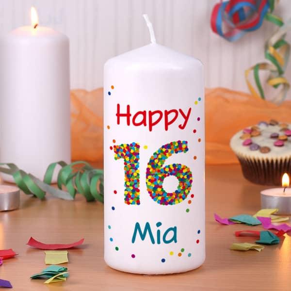 Kerze zum 16. Geburtstag mit Name und Wunschtext