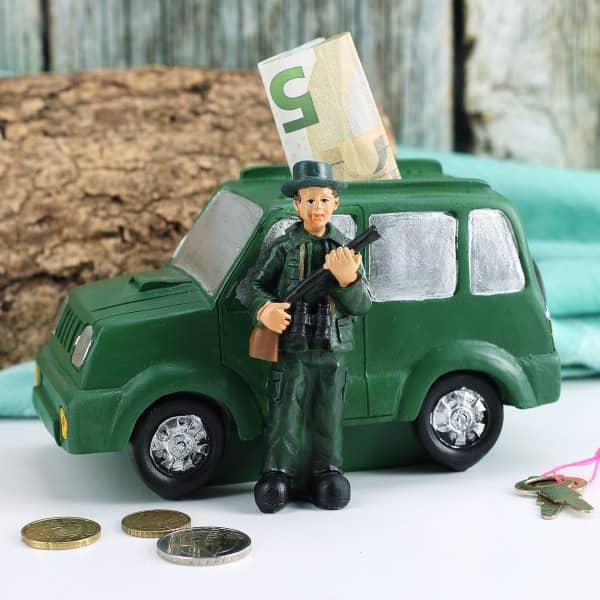 Spardose Jäger mit Auto