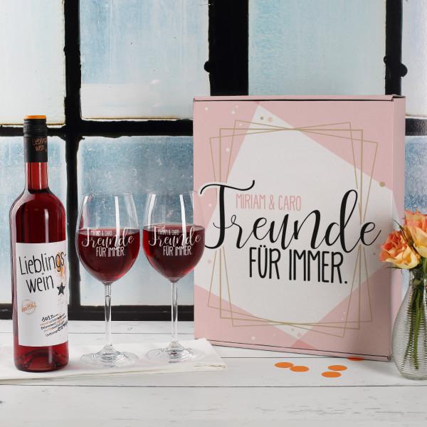 """Geschenkset """"Freunde für immer"""" in personalisierter Geschenkbox"""