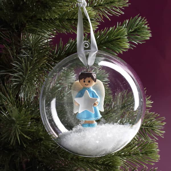 Ausgefallenkleineaufmerksamkeiten - Weihnachtskugel mit Schutzengel in Blau - Onlineshop Geschenke online.de