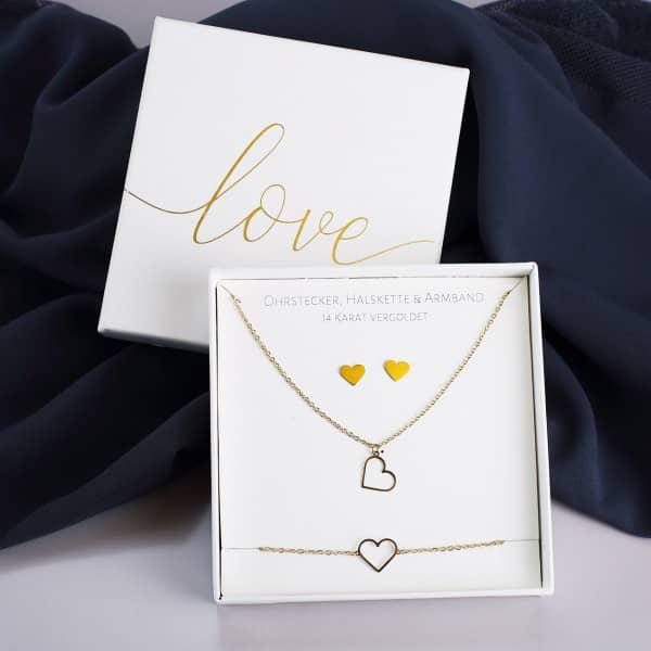 Schmuck-Geschenkset Herzen vergoldet