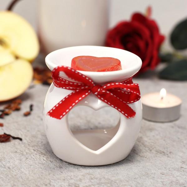 Aromalampe mit Rosenwachs in Herzform