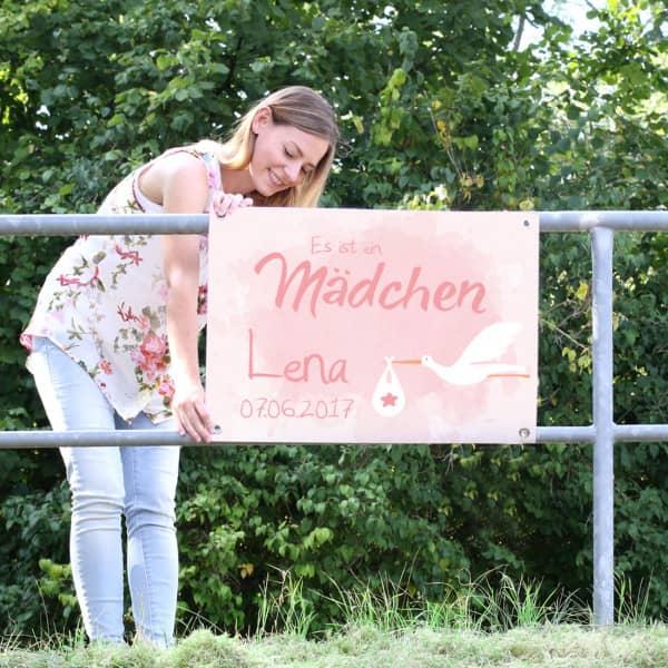 Banner zur Geburt für Mädchen mit Name und Datum