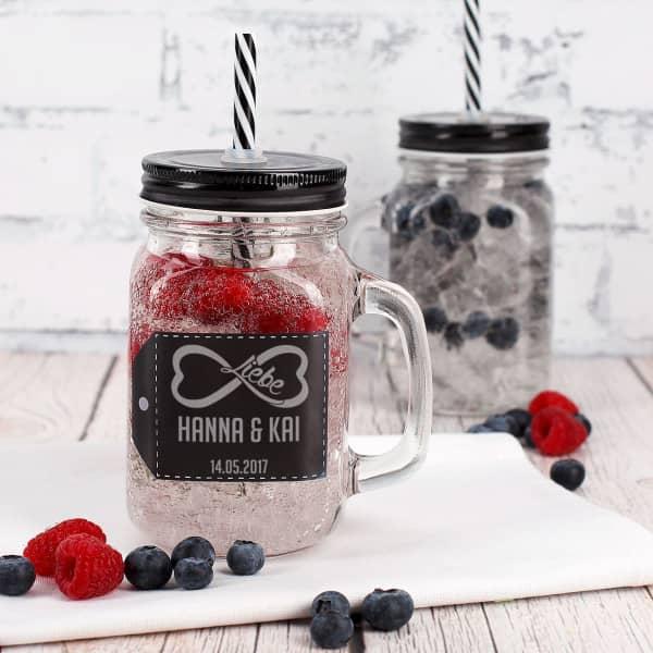 unendliche liebe trinkglas mit henkel und deckel mason jar. Black Bedroom Furniture Sets. Home Design Ideas