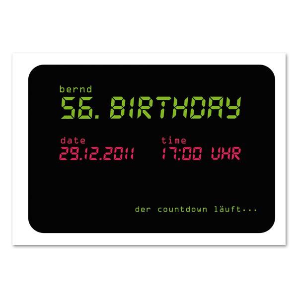 Countdown Postkarte als Einladung mit Ihrem perönlichen Text