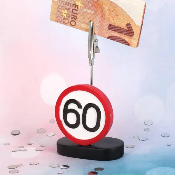 Geldclip mit Verkehrsschild zum 60. Geburtstag