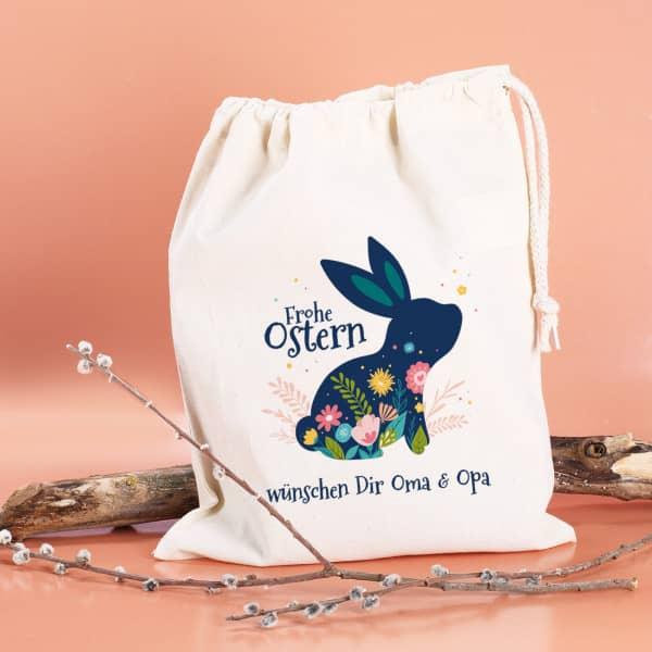 Frohe Ostern - Geschenksack mit Osterhase, Blüten und Wunschtext, 25 x 32 cm