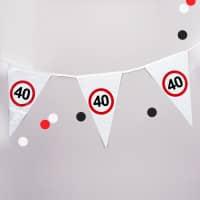 Wimpel-Kette mit Verkehrszeichen 40
