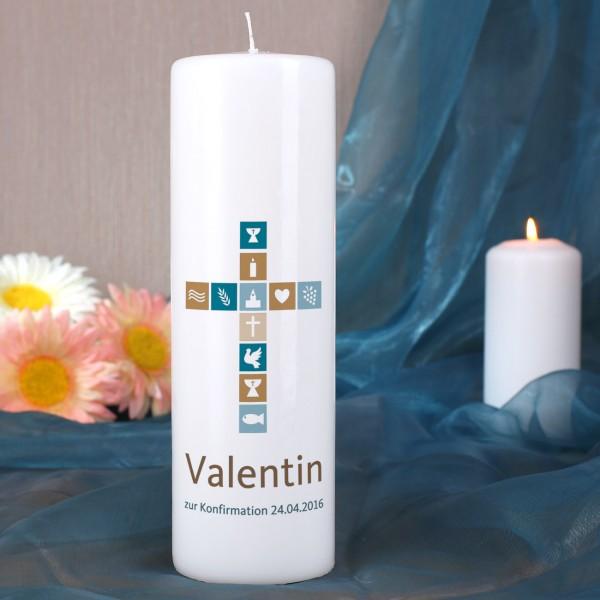 Kerze für religiöse Anlässe mit Name, Wunschtext sowie Kreuz in blau und brau...