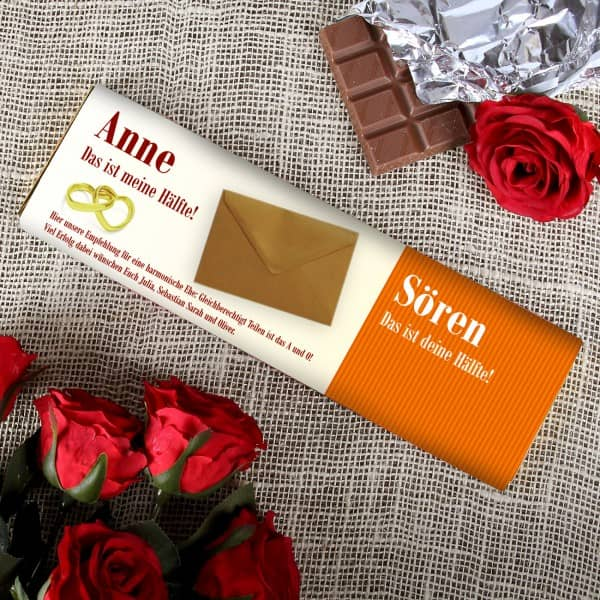 Persönliche Tafel Schokolade zur Hochzeit mit Umschlag für Geld