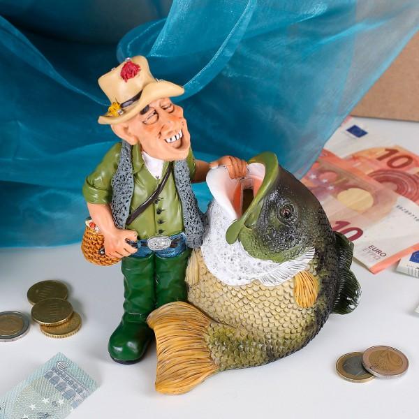 Spardose Fischer mit großem Fisch