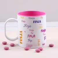 Pinke Kunststofftasse mit Ihrem Wunschnamen