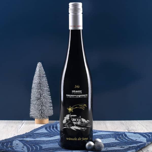 Persönliche Weinflasche zu Weihnachten mit Gravur, zweifarbig