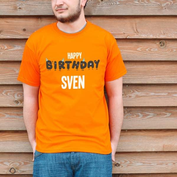 Oranges Geburtstagsshirt Happy Birthday mit Namensaufdruck