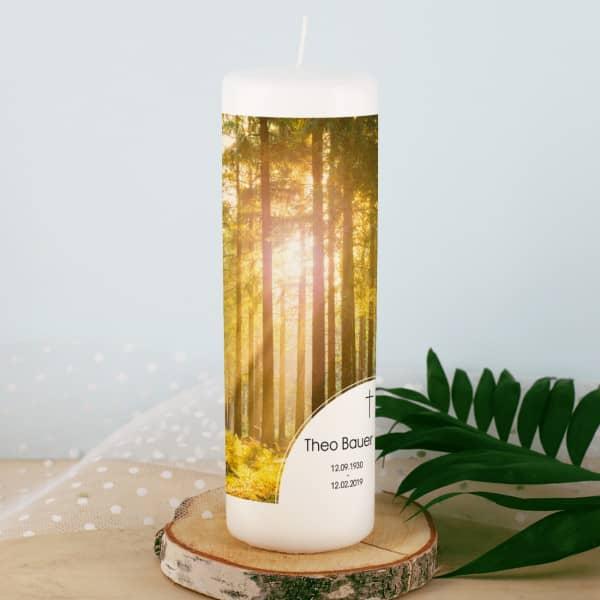 Trauerkerze mit Wald und Sonnenstrahlen