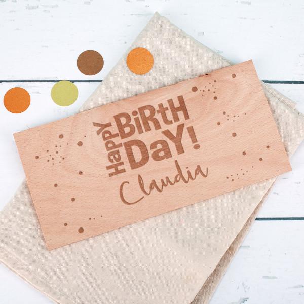 Karte aus Holz Happy Birthday mit Namensaufdruck